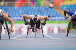 RIO DE JANEIRO - 9/9/2016:  Jean-Philippe Maranda competes in the Men's 100m - T53 Heats in the Olympic Stadium during the Rio 2016 Paralympic Games. (Photo by Matthew Murnaghan/Canadian Paralympic Committee