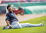 5 March 2016: Detroit Tigers outfielder John Mayberry Jr. stretches out prior to a Spring Training pre-season game against the Washington Nationals at Space Coast Stadium in Viera, Florida. The Tigers fell to the Nationals 8-4 in Grapefruit League play. Mandatory Credit: Ed Wolfstein Photo *** RAW (NEF) Image File Available ***