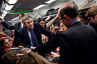 Prime Minister and Labour Party leader Gordon Brown gives a briefing to members of the press including BBC Political Editor Nick Robinson on a train heading to the South West of England where he plans to spend the day campaigning.