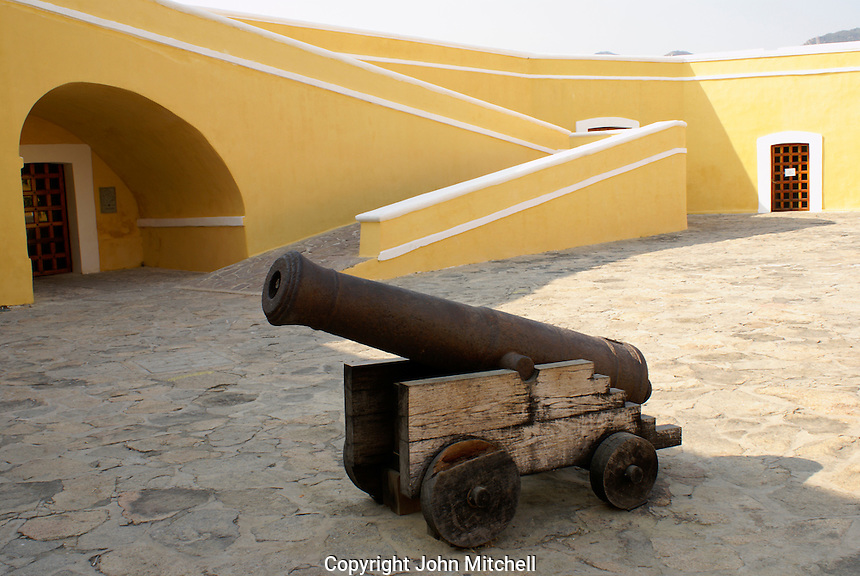 Spanish cannon in the courtyard of Fuerte de San Diego, Acapulco, Mexico. This 18th-century Spanish fort was built to protect Acapulco from Dutch and English buccaneers.