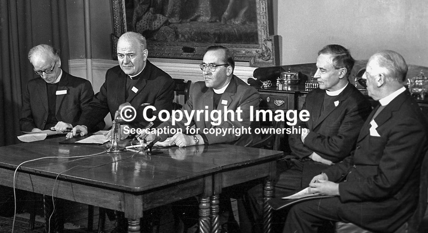 N Ireland church leaders report back after the Feakle Peace Talks which they had with the Provisional IRA in the Co Clare Village on 12th December 1974. Taking part in the press conference (from left) are: Rev Harold Sloane, president, Methodist Church, Cardinal Conway, Roman Catholic Church, Rev Jack Weir, Presbyterian Church, Archbishop George Otto Simms, Church of Ireland, and Rt Rev George Temple Lundie, Presbyterian Moderator. 197501030011a.<br />