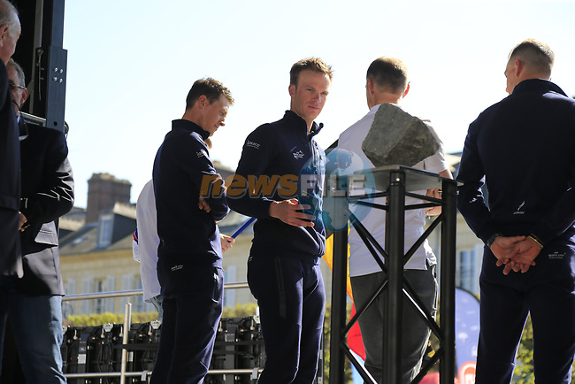 Iljo Keisse (BEL) Quick-Step Floors takes a look at the winners trophy on display at the Team Presentation for the upcoming 115th edition of the Paris-Roubaix 2017 race held in Compiegne, France. 8th April 2017.<br /> Picture: Eoin Clarke | Cyclefile<br /> <br /> <br /> All photos usage must carry mandatory copyright credit (&copy; Cyclefile | Eoin Clarke)