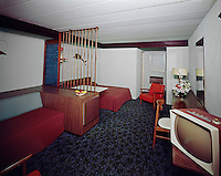 Satellite Motel, Wildwood, NJ. Motel Room with a built in refrigerator. 1960's.