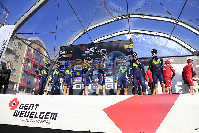 Movistar Team on stage at sign on before the start of Gent-Wevelgem in Flanders Fields 2017, running 249km from Denieze to Wevelgem, Flanders, Belgium. 26th March 2017.<br /> Picture: Eoin Clarke | Cyclefile<br /> <br /> <br /> All photos usage must carry mandatory copyright credit (&copy; Cyclefile | Eoin Clarke)