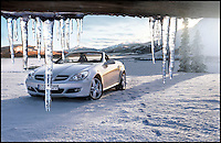 BNPS.co.uk (01202 558833)<br /> Pic: SnowBusiness/BNPS<br /> <br /> ***Please Use Full Byline***<br /> <br /> An advert for Mercedes Benz. <br /> <br /> Staff are celebrating their success in the way only they can...by turning a warm september day into a Xmas snow scene in seconds.<br /> <br /> The worlds biggest producer of snow is celebrating after another bumper year in which they have supplied the film and television industry with the white stuff from the unlikely headquarters near Stroud in Gloucestershire.<br /> <br /> The tiny British company are the first port of call for Hollywood producers when the on screen temperature drops and they can't wait on the weather - Recent credits include Maleficent, Snow White and the Huntsman and Philomena.<br /> <br /> Homegrown favourites like Dr Who and Downton are also customers, owner Darcy Crownshaw claims 'Everywhere you go the snow you see will probably be ours, from Harrods and Selfridges shop windows to the adverts and programmes on your television and films at the cinema.'