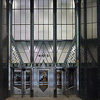 An Art Deco entrance to the Chrysler Building, designed by William Van Alen and built 1928-30 for Walter P Chrysler as the Headquarters of the Chrysler Corporation, on Lexington Avenue in Manhattan, New York, New York, USA. The Chrysler Building is in Art Deco style and is the tallest brick building in the world, with a steel structure. Picture by Manuel Cohen