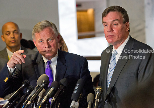 United States Senators Richard Burr (Republican of North Carolina), Chairman, US Senate Select Committee on Intelligence, left, and US Senator Mark Warner (Democrat of Virginia), Vice Chairman, US Senate Select Committee on Intelligence, right, hold a press conference on Capitol Hill following their committee meeting on world wide threats and their meeting with in US Deputy Attorney General Rod J. Rosenstein on Capitol Hill in Washington, DC on Thursday, May 11, 2017.<br /> Credit: Ron Sachs / CNP<br /> (RESTRICTION: NO New York or New Jersey Newspapers or newspapers within a 75 mile radius of New York City)