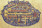 Israel, Jerusalem, The Madaba Map, a Byzantine mosaic map of the old city walled city of Jerusalem with the cardo running from north to south