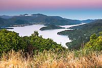 Pastel colours of twilight over Kenepuru Sound in Marlborough Sounds, Nelson Region, Marlborough, South Island, New Zealand