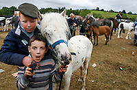 Spancill Hill cross horse fair, County Clare, Ireland, 23, July 2007..Buyers and sellers of horses and ponies from all over Ireland converge on this famous crossroads, intent on doing business..At one time, Spancill hill was said to be Ireland's largest horse fair with buyers from Britain, Russia, Prussia, and France competing to purchase the best stock for their Imperial armies. Recently the fair has been revived and is now going from strength to strength. .Spancill Hill is also a famous traditional Irish folk song which bemoans the plight of the Irish immigrants who longed for home from their new lives in America.This song is sung by a man who longs for his home in Spancill Hill, his friends and the love he left there.. .Photo By James Horan 23, July 2007.