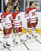 Pat Cannone (Miami - 20), Carter Camper (Miami - 11), Andy Miele (Miami - 17) - The University of New Hampshire Wildcats defeated the Miami University RedHawks 3-1 (EN) in their NCAA Northeast Regional Semi-Final on Saturday, March 26, 2011, at Verizon Wireless Arena in Manchester, New Hampshire.