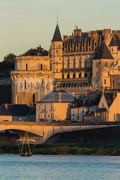 France, Indre-et-Loire (37), Amboise, Vallée de la Loire classée Patrimoine Mondial de l'UNESCO, château royal et la ville basse // France, Indre et Loire, Amboise, Loire Valley listed as World Heritage by UNESCO, Chateau d'Amboise and the lower town