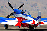 """Brent Hisey's P-51D Mustang """"Miss America"""" sits on the tarmac during the 2008 Reno National championship Air Races at Stead Field in Nevada. The Rolls Royce Merlin powered Miss America finished 2nd in the Silver Class with a speed of 406.768 mph over the 58.5579 mile course."""