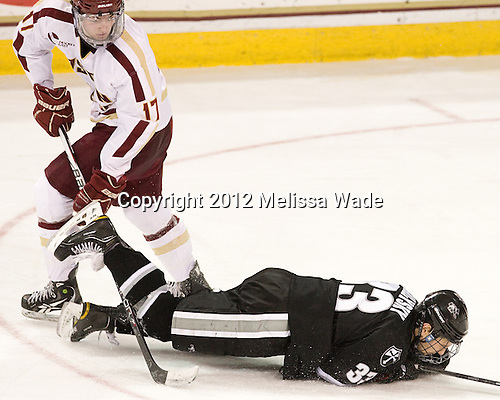 Destry Straight (BC - 17), Andy Balysky (PC - 33) - The Boston College Eagles defeated the Providence College Friars 7-0 on Saturday, February 25, 2012, at Kelley Rink at Conte Forum in Chestnut Hill, Massachusetts.
