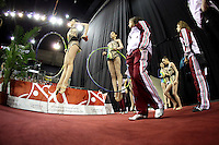 Senior group from Hungary warms-up before entering carpet at 2009 Budapest World Cup on March 7, 2009 at Budapest, Hungary.  Photo by Tom Theobald.