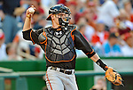 18 May 2012: Baltimore Orioles catcher Matt Wieters in action against the Washington Nationals at Nationals Park in Washington, DC. The Orioles defeated the Nationals 2-1 in the first game of their 3-game series. Mandatory Credit: Ed Wolfstein Photo