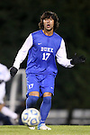 06 November 2012: Duke's Jonathan Aguirre. The University of North Carolina Tar Heels defeated the Duke University Blue Devils 1-0 at Fetzer Field in Chapel Hill, North Carolina in a 2012 NCAA Division I Men's Soccer game. The game was an Atlantic Coast Conference quarterfinal match.