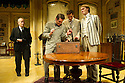 London, UK. 27.09.2012. CHARLEY'S AUNT, by Brandon Thomas, opens at the Menier Chocolate Factory. The production is directed by Ian Talbot. Starring Jane Asher, Matthew Horne and Norman Pace. Picture shows: Charles Kay (Brassett), Mathew Horne (Lord Fancourt Babberley), Dominic Tighe (Jack Chesney), Benjamin Askew (Charley Wykeham).  Photo credit: Jane Hobson.