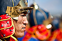A Mongolian guard member stands in formation during the opening ceremony of Exercise Khaan Quest 2011 in Ulaanbaatar, Mongolia, on July 31st, 2011. Khaan Quest is a training exercise for strengthening the capabilities of U.S., Mongol and other nations are forced for supporting  the international peacekeeping operations. (Photo by Lance Cpl. Demetrius Munnerlyn/U.S. Marine Corps/AFLO) [0006]