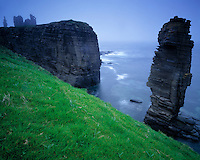 Pinnacle & Ancient Castle Remains, North Sea, Scotland, UK  Sinclair and Girnigoe Castles  (1400's)   Near Wick