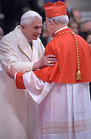 Cardinal Ricardo Blazquez Perez, archbishop of Valladolid, Spain,Pope Benedict XVI ,during a consistory for the creation of new Cardinals at St. Peter's Basilica in Vatican.February 14, 2015