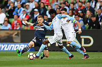 Melbourne, 17 December 2016 - BRUCE KAMAU (11) of Melbourne City controls the ball in the round 11 match of the A-League between Melbourne City and Melbourne Victory at AAMI Park, Melbourne, Australia. Victory won 2-1 (Photo Sydney Low / sydlow.com)