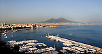 View of the Bay of Naples and Mt. Vesuvius from Posillipo above the Mergellina.