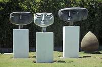 Sculptures by Oswaldo Guayasamin on the grounds of the Museo Guayasamin in Quito, Ecuador. Indigenous painter Oswaldo Guayasamin (1919-199) was Ecuador's best known modern artist. His former home has been turned into a museum with galleries displaying his paintings and his collections of pre-Columbian and colonial art.