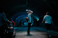 New York City, NY. 16 August 2014. People visit the sound installation from Norwegian artist Jana Winderen at the Park Avenue Tunnel during the summerstreets event in Mahattan.  Photo by Kena Betancur/VIEWpress