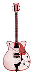 X-ray image of an electric guitar (red on white) by Jim Wehtje, specialist in x-ray art and design images.