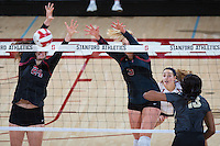 STANFORD, CA - September 9, 2016: Audriana Fitzmorris, Hayley Hodson at Maples Pavilion. The Purdue Boilermakers defeated the Stanford Cardinal 3 - 2.