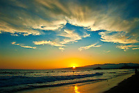 Santa Monica beach amid the sunset on Wednesday, August 15, 2012..