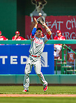 24 May 2015: Philadelphia Phillies infielder Cesar Hernandez pulls in a shallow fly ball during game action against the Washington Nationals at Nationals Park in Washington, DC. The Nationals defeated the Phillies 4-1 to take the rubber game of their 3-game weekend series. Mandatory Credit: Ed Wolfstein Photo *** RAW (NEF) Image File Available ***