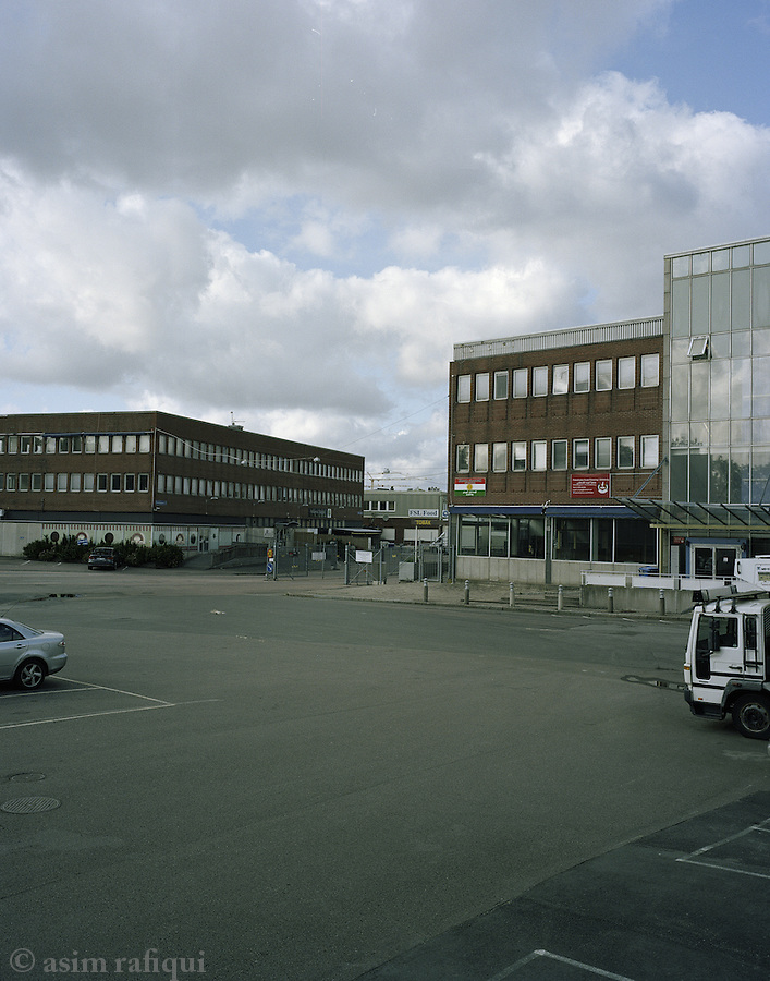 A view of the Palestine House in Gothenburg, located in an industrial warehouse area