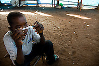 "Aniruno Sadi, 16 years old, was captured and enslaved y the LRA in Congo. He spent 14 months in forced servitude working on fod cultivation. "" i don't know the meaning of LRA i only know that they are the people in the forest. iam thinking now only about my sister who is stil lost to the LRA. I  am still fearing them"""
