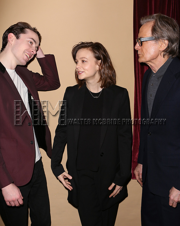 Matthew Beard, Carey Mulligan and Bill Nighy attend the 'photo call for the Broadway production of Skylark' at the Golden Theatre on March 10, 2015 in New York City.
