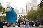 A sculpture of a blue sheep at Bryant Park in New York City for the Campaign for Wool, launched by HRH The Prince of Wales to promote the sustainable benefits of wool. The fountain in Bryant Park is full of wool as part of the Campaign for Wool