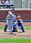 25 July 2012: Washington Nationals first baseman Adam LaRoche connects for a two-run homer against the New York Mets at Citi Field in Flushing, NY. The Nationals defeated the Mets 5-2 to sweep their 3-game series. Mandatory Credit: Ed Wolfstein Photo