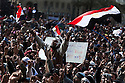 """Thousands of Egyptian anti-Mubarak protesters chant anti-government slogans during a large demonstration dubbed the """"Day of Departure"""" February 04, 2011 in Tahrir Square in Cairo, Egypt. Protesters hoped today's protests might finally push the Mubarak regime to full collapse, however despite the large turnout, there appeared to be little political resolution. ."""