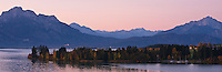 Morning light over Forggensee and Allgäu mountains, Bavaria, Germany