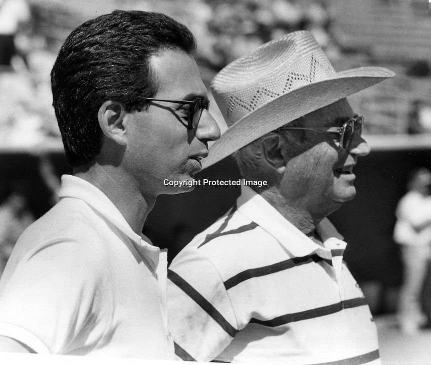 Oakland Athletics owner, Walter A. Haas Jr. (right) and his son Walter J. Haas,President and CEO<br />