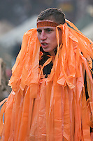 Kiev, Ukraine, 28/12/2004..The third and final round of Ukraine's disputed Presidential election. Supporters of candidate Viktor Yushchenko, many festooned with orange ribbons, continue to demonstrate in the city centre..