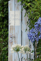 Blue Agapanthus, white agapanthus, blue garden door painted sign saying Private Garden