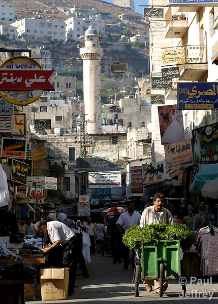 A street in the city of Nablus, in the West Bank of the Occupied Palestinian Territories.