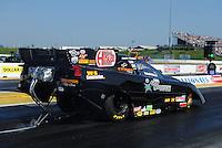 May 18, 2012; Topeka, KS, USA: NHRA funny car driver Jack Wyatt during qualifying for the Summer Nationals at Heartland Park Topeka. Mandatory Credit: Mark J. Rebilas-