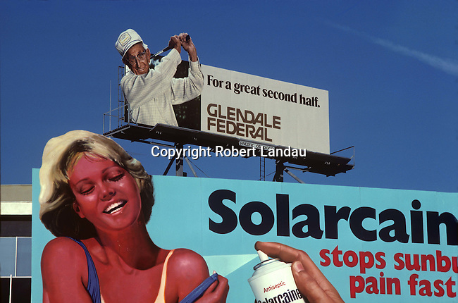 Solarcaine billboard with Golfer, Hollywood, 1977