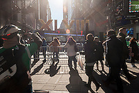 Visitors on  Super Bowl Boulevard in Midtown Manhattan in New York on Thursday, January 30, 2014. Despite the game being held in New Jersey on February 2 sports fans are packing New York to take part in the multitude of activities planned around the game including the 13 block stretch of Broadway, running from 34th street through 47th street that will host Super Bowl Blvd. from January 29 to February 1. (© Richard B. Levine)