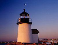 Brant Point Lighthouse & Moon, Nantucket Island, Massachusetts