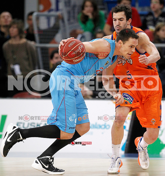 Valencia Basket Club's Pau Ribas (r) and Asefa Estudiantes' Kyle Kuric during Spanish Basketball King's Cup match.February 07,2013. (ALTERPHOTOS/Acero) /NortePhoto