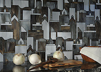 Cityscape, a waterjet glass mosaic shown in Pearl, Lavastone, and Tourmaline, is part of the Erin Adams Collection for New Ravenna Mosaics.<br />